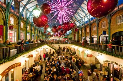 Covent garden illuminated during Christmas season 2010, London, United Kingdom