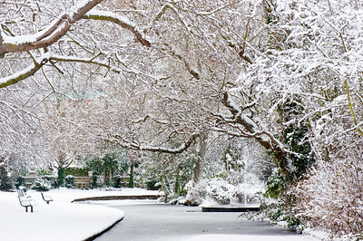 Walpole Park covered in snow, Ealing, London, United Kingdom