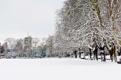 The Common covered in snow, Ealing, London, United Kingdom