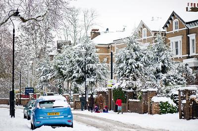 Mattock Lane covered in snow, Ealing, London, United Kingdom