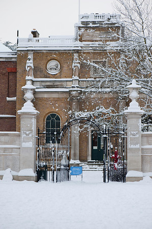 Pitzhanger Manor House in Walpole Park covered in snow, Ealing, London, United Kingdom