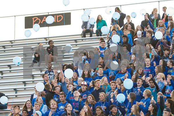 Sam Buckner for Shaw Media.<br /> DeKalb Student section wears all blue and releases blue baloons in memory of Ata Shakir on Friday September 1, 2017.