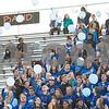 Sam Buckner for Shaw Media.<br /> DeKalb Student section wears all blue and releases blue baloons in memory of Ata Shakir on Friday September 1, 2017.