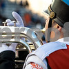 Sam Buckner for Shaw Media.<br /> Spencer Mackey plays a baritone during pre game of the Dekalb vs. Carmel game on Friday September 1, 2017. The DeKalb band members wore a blue stripe around their hats in memory of Ata Shakir.