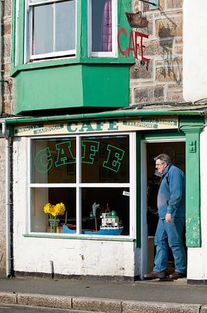 Cafe by Newlyn harbour, Cornwall, United Kingdom