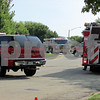 DeKalb and Sycamore emergency personnel block off Meadow Creek Drive on Friday morningafter reports of an apartment fire at the Canterbury Place Apartments.