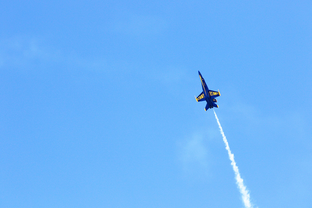 . Jonathan Tressler - The News-Herald. One of the Blue Angels� F/A-18 Hornet aircraft gets vertical during the U.S. Navy flight exhibition team�s performance Sept. 2 at the 2018 Cleveland National Air Show.