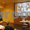 Christopher Heimerman – cheimerman@shawmedia.com<br /> Carmel, Indiana-based Beatles historian Aaron Krerowicz explains how the band was influenced by American music of the 1950s during a presentation Friday at the DeKalb Public Library.