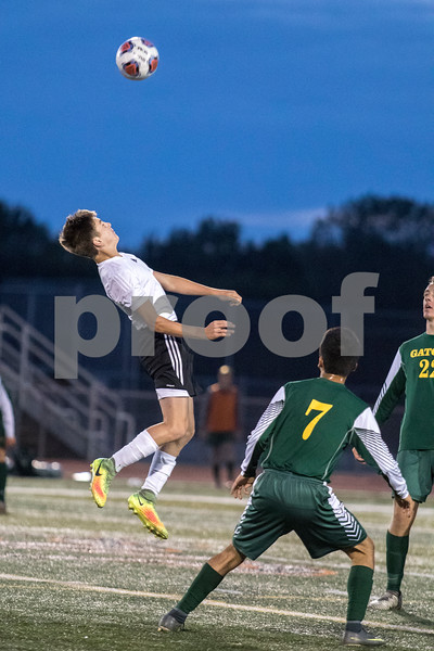 Sam Buckner for Shaw Media.<br /> Tyler Scarbrough heads a ball during the Crystal Lake South game on Tuesday September 5, 2017.