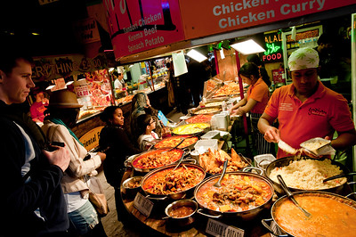 Food stalls in The Stables Market, Camden, NW1, London, United Kingdom