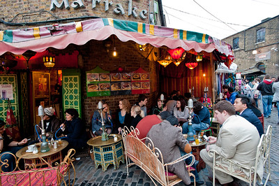 Shisha smokers in Moroccan cafe bar, The Stables Market, Camden, NW1, London, United Kingdom