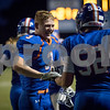 Genoa-Kingston's Jeremy Widmayer congradulates teammate Brett Marth after scoring a touchdown against Rock Falls  on Friday, Sep. 8, 2017 at Genoa-Kingston High School in Genoa.<br /> Sam Buckner for Shaw Media