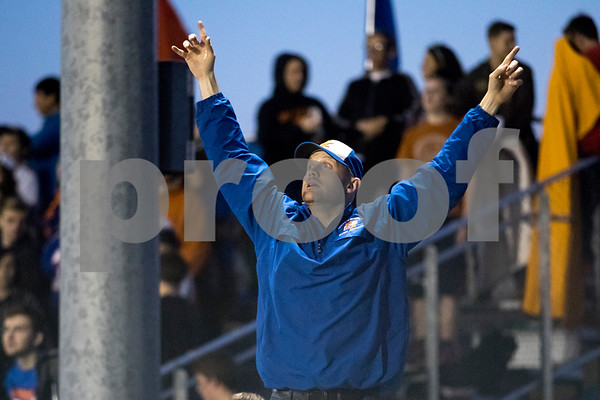 Genoa-Kingston band director Tom Rucker looks for the ball in the air after a kick-off in the second quarter on Friday, Sep. 8, 2017 at Genoa-Kingston High School in Genoa.<br /> Sam Buckner for Shaw Media