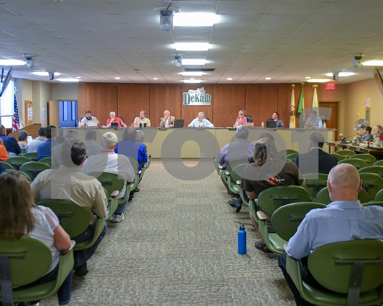 The Dekalb city council  speak about the Annie Glidden North revitalization plan.