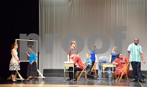 """Artists and peer mentors in CCT's Penguin Project act out a scene from """"Hairspray Jr."""" during dress rehearsal on Friday, Sept. 6. """"Hairspray Jr."""" will be performed at Sycamore High School Thursday, Sept. 12, through Sunday, Sept. 15."""