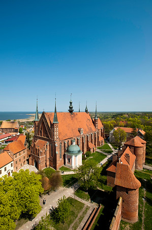 View from defence tower of the cathedral and Vistula lagoon, Frombork, Warmia Region, Poland