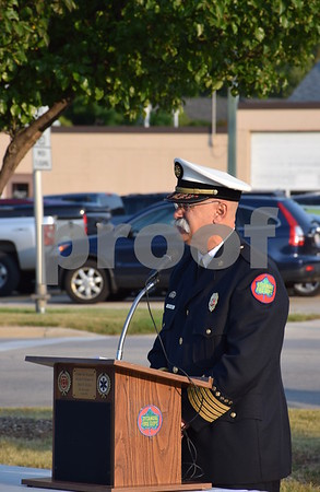 Katrina J.E. Milton - kmilton@shawmedia.com<br /> Sycamore Fire Chief Peter Polarek gives an opening address during the 9/11 Memorial Service held Monday by the Sycamore Fire and Police Department. Polarek said that he felt it was important to come together as a community to reflect on how 9/11 changed our country.