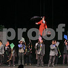 Mary Poppins played by Erin Steele fly's in during Lets go fly a kit during September 11th rehearsal.