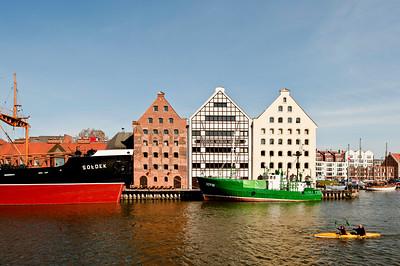 Architecture by Motlawa River, Gdansk, Poland