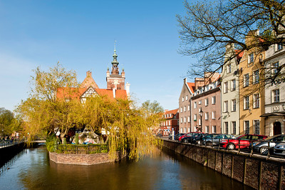 View along canal in historic district, Gdansk, Poland