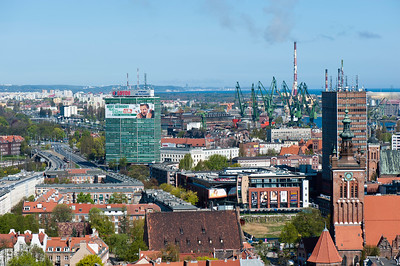Aerial vie of town from bell tower of St Mary's Church, Gdansk, Poland