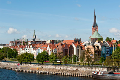 Architecture along Oder River, Szczecin, Poland