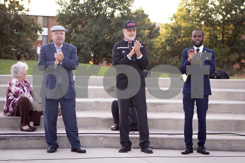 Sam Buckner for Shaw Media.<br /> DeKalb Mayor John Rey, NIU President Doug Baker and NAACP NIU President Amirius Clinton get ready to walk at the 3rd annual Unity March on Wednesday September 14, 2016.