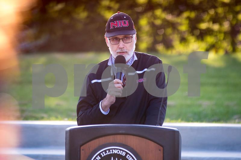 Sam Buckner for Shaw Media.<br /> NIU President Doug Baker speaks before the 3rd annual Unity March on Wednesday September 14, 2016.