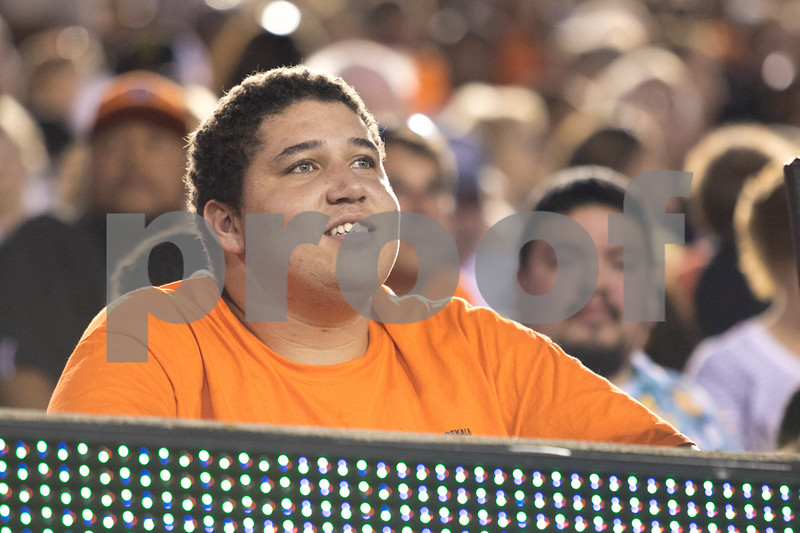 Sam Buckner for Shaw Media.<br /> Devin Pringle watches the game from the stands on Friday September 15, 2017.