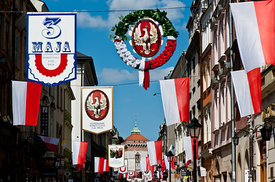 Florianska Street decorated for national holiday of Third of May, Krakow,Poland