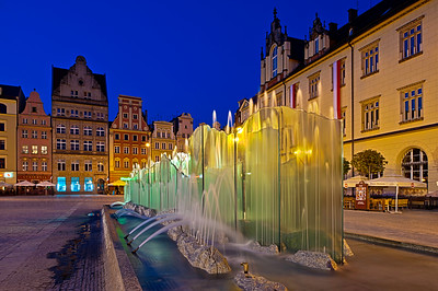 Contemporary fountain in Old Town, Wroclaw, Poland