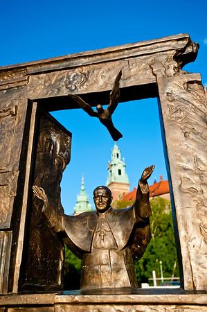 Sculpture of Pope John Paul the Second by Wawel Castle, Krakow, Poland