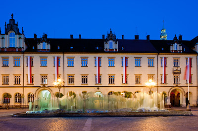 Contemporary fountain on Market Square, Old Town, Wroclaw, Poland