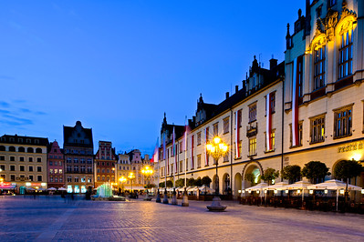 Market Square at dusk, Wroclaw, Poland