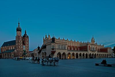 Main Market Square at dusk, Krakow, Poland