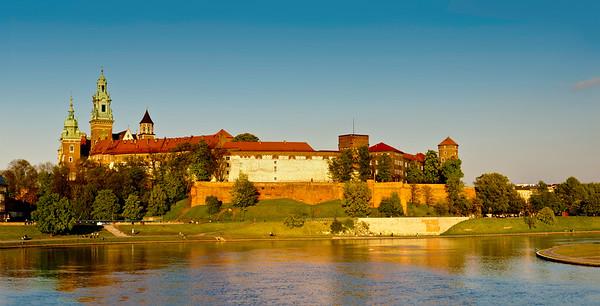 Wawel Castle overlooking Vistula River, Krakow, Poland