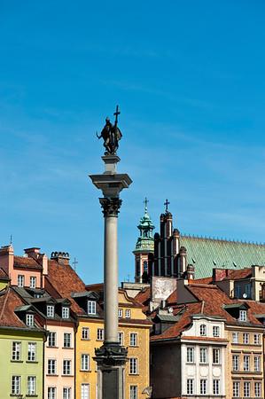 King Zygmund Column and Old Town, Warsaw, Poland