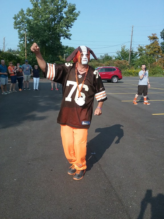 ". Tim Purchase (a.k.a. Pit Dawg) performs at Brownsbackers charity events throughout the football season. He deems himself a ""superfan\"" and claims he has been honored as a \""Tailgater Hall of Famer\"" by Brownsbackers groups. (Jean Bonchak for The News-Herald)"