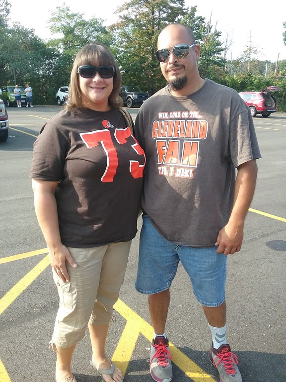 . Sara and Keith Reigles of Painesville attended the event with friends. Sara said her hope for the season is that the team does better than last year.  (Jean Bonchak for The News-Herald)