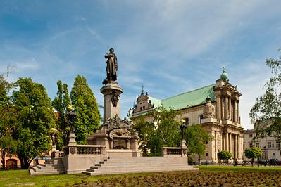 Adam Mickiewicz Monument on Krakowskie Przedmiescie, Warsaw, Poland