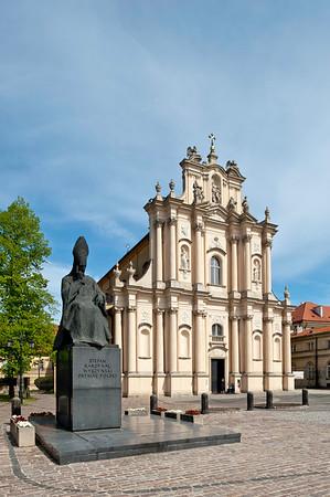 Monument of Primate Stefan Wyszynski by St joseph's Church, Warsaw, Poland