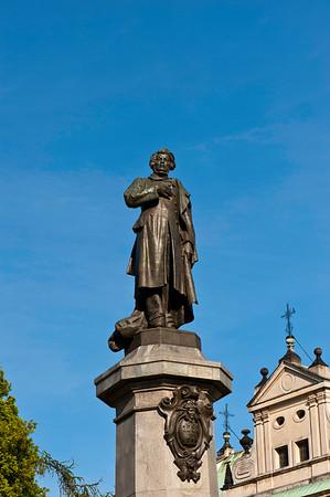 Monument to Adam Mickiewicz on Krakowskie Przedmiescie, Warsaw, Poland
