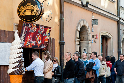Queue for ice-cream, Warsaw, Poland