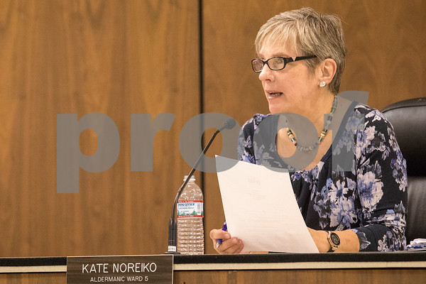 Sam Buckner for Shaw Media.<br /> Kate Noreiko, alderman of the 5th ward, speaks on TIF funds on Tuesday September 19, 2017.