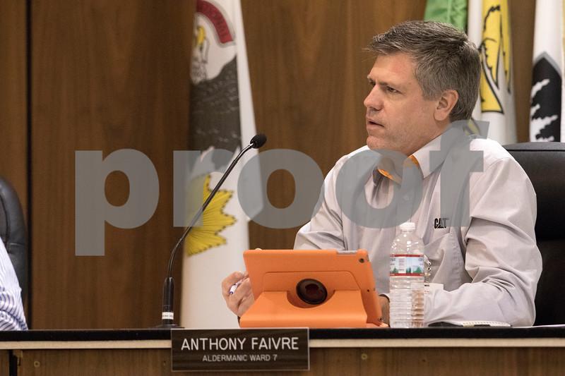 Sam Buckner for Shaw Media.<br /> Anthony Faivre, 7th ward alderman, speaks on TIF funds on Tuesday September 19, 2017.
