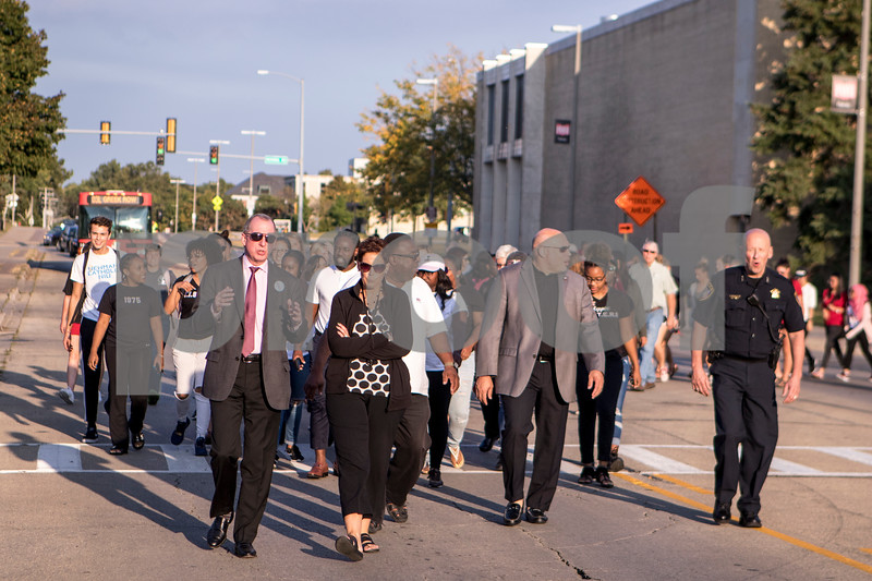 Sam Buckner for Shaw Media.<br /> participants of the NIU Unity March walk on Lucinda Ave on Tuesday September 19, 2017.