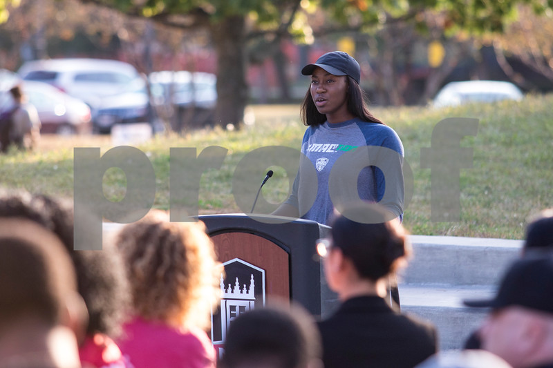 Sam Buckner for Shaw Media.<br /> Chrystal McAlpin, a NIU volleyball player, speaks at the Unity March on Tuesday September 19, 2017 in the MLK Commons.
