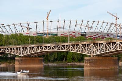 National Stadium during construction overlooking Vistula River, Warsaw, Poland