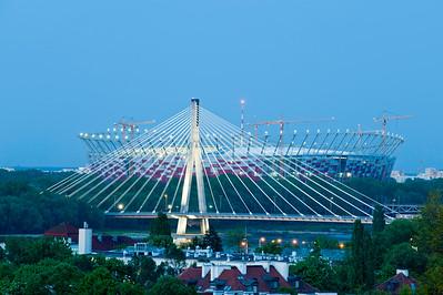 National Stadium and Swietokrzyski Bridge, Warsaw, Poland