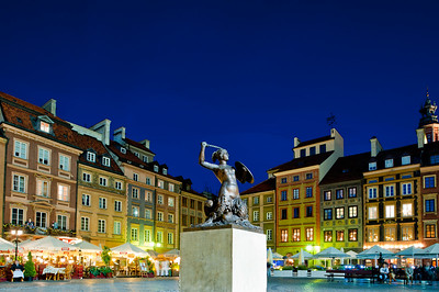 Old Town Square at dusk, Warsaw, Poland